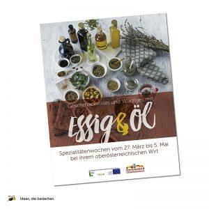 """Referenzen kreativbiene: Plakat """"Genussland OÖ"""" Spezialitätenwochen Essig&Öl"""