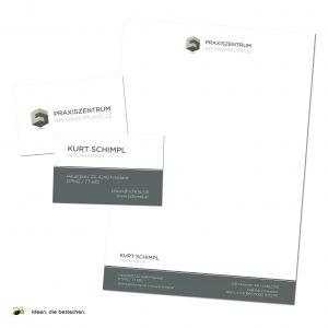 """Referenzen kreativbiene: Logo, Corporate Design & Drucksorten """"Praxiszentrum am Hauptplatz"""" (Heilmasseur Kurt Schimpl)"""