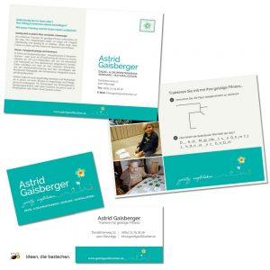 """Referenzen kreativbiene: Logo, Corporate Design, div. Drucksorten und Website """"geistig aufblühen - Astrid Gaisberger"""""""