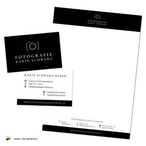 """Referenzen kreativbiene: Logo, CD, Drucksorten """"Fotografie Karin Schwarz"""""""