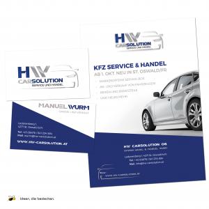 """Referenzen kreativbiene: Corporate Design (Logo), diverse Drucksorten, Webdesign """"HW CarSolution"""""""