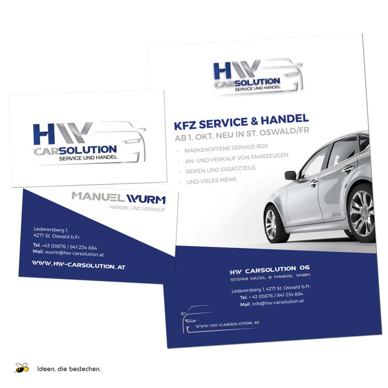 "Referenzen kreativbiene: Corporate Design (Logo), diverse Drucksorten, Webdesign ""HW CarSolution"""