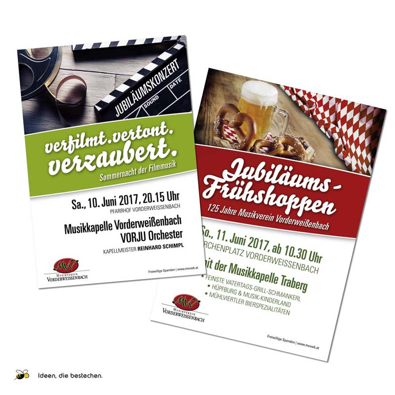 """Referenzen kreativbiene: div. Flyer & Plakate """"Musikverein Vorderweißenbach"""""""