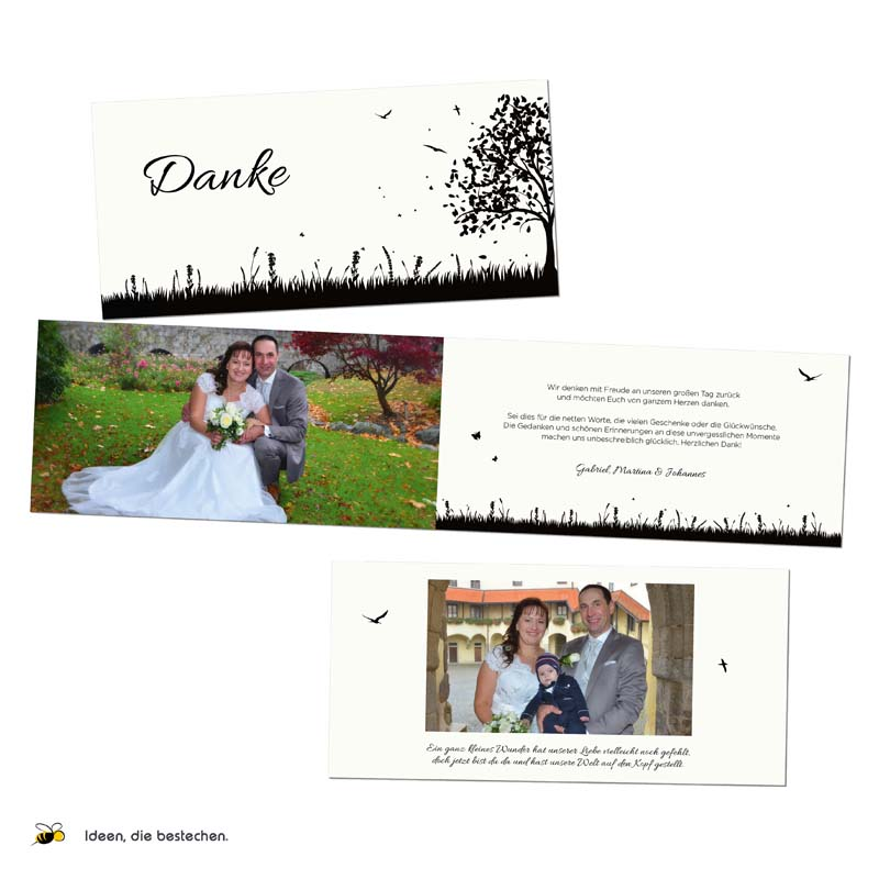 Referenzen kreativbiene: Hochzeitseinladungen, Dankeskarten