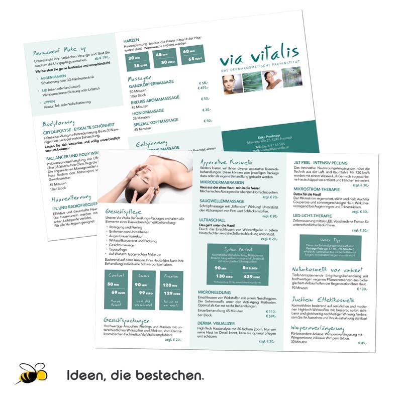 """Referenzen kreativbiene: Preislisten (6-Seiter) """"Dermakosmetisches Fachinstitut Via Vitalis"""""""