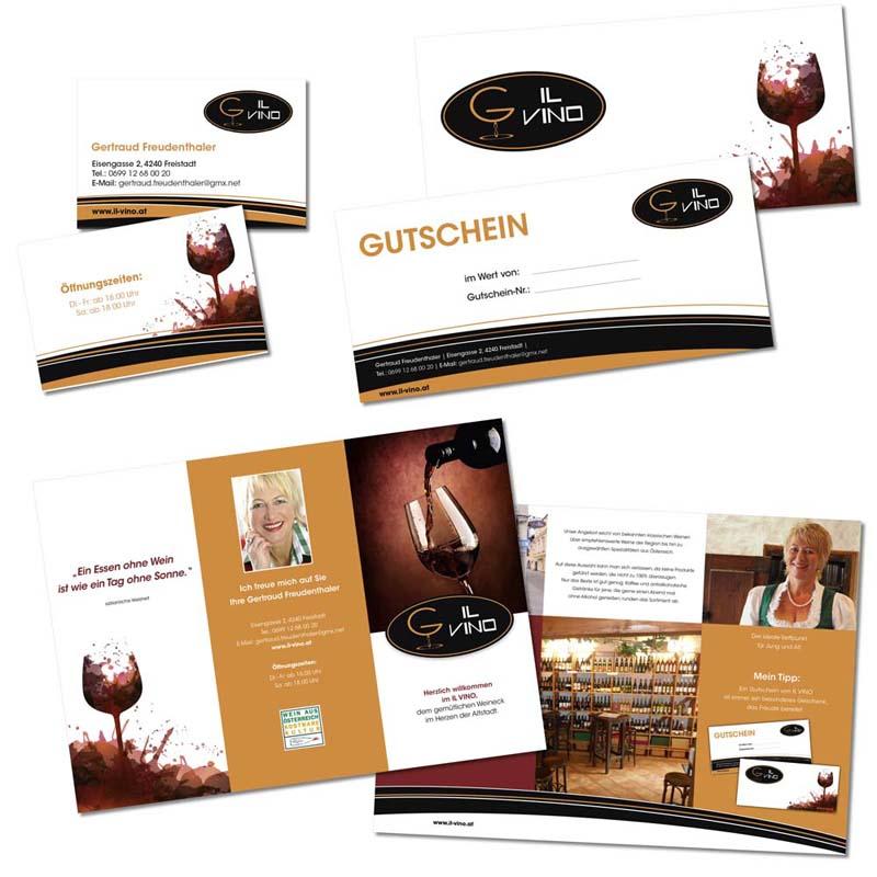 Referenzen kreativbiene: Folder, Gutscheine, Visitenkarten IL VINO Freistadt