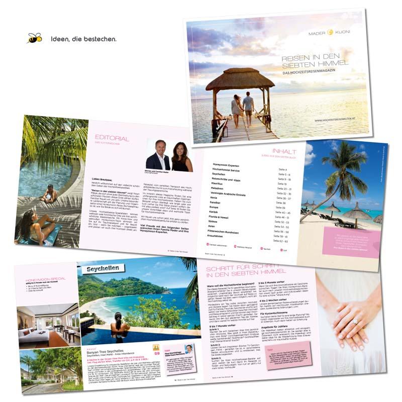 """Referenzen kreativbiene: Katalog """"Hochzeitsreisewelten"""" (ReiseCenter Mader-Kuoni)"""