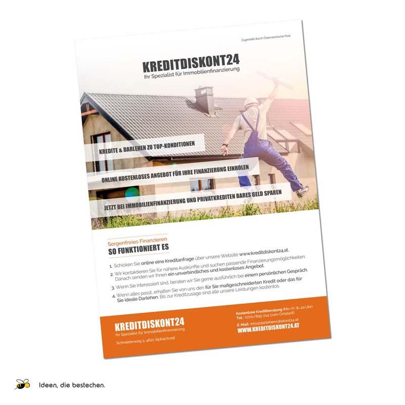 """Referenzen kreativbiene: Flyer, Visitenkarten und Webdesign """"Kreditdiskont24"""""""