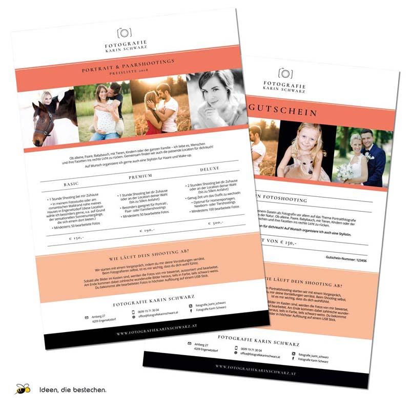 """Referenzen kreativbiene: Preislisten, Briefpapier, Visitenkarten und Gutscheine """"Fotografie Karin Schwarz"""""""