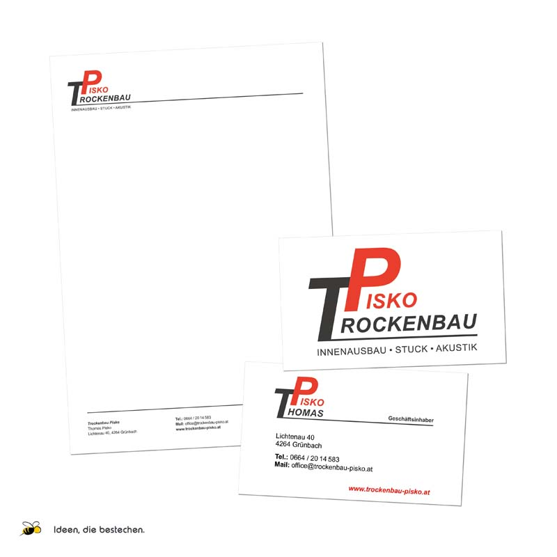 "Referenzen kreativbiene: Corporate Design, Logo, Drucksorten, Webdesign ""Trockenbau Pisko"""