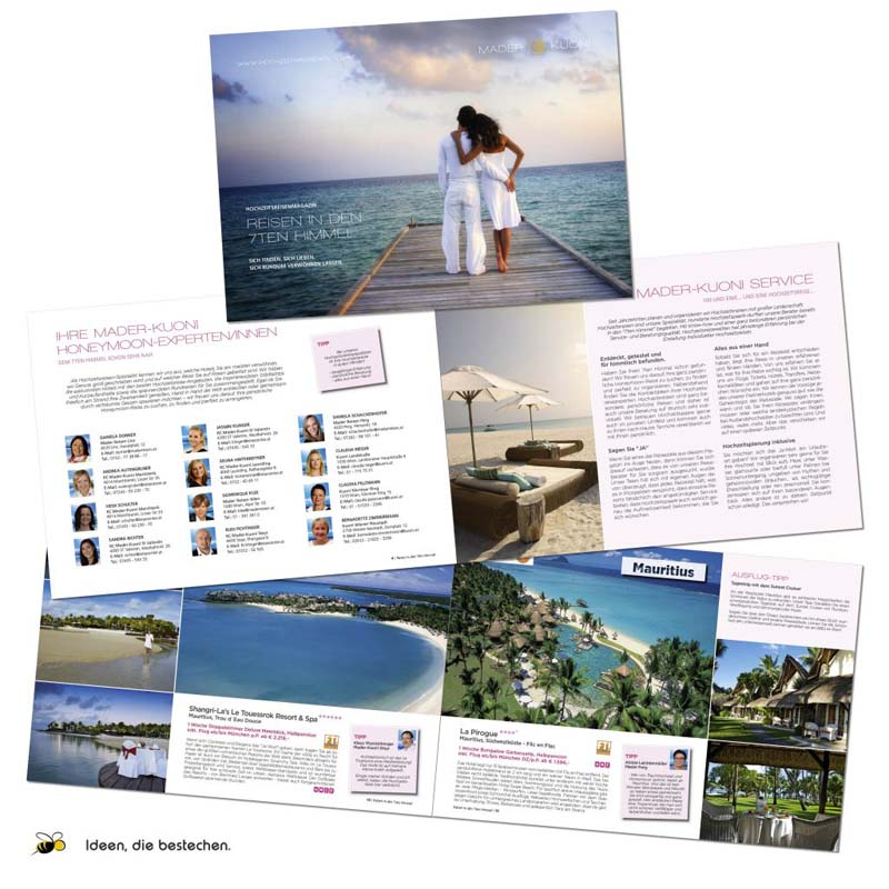 """Referenzen kreativbiene: Hochzeitsreisewelten des """"ReiseCenter Mader Kuoni"""". Das Magazin für Hochzeitsreisen auf der ganzen Welt."""