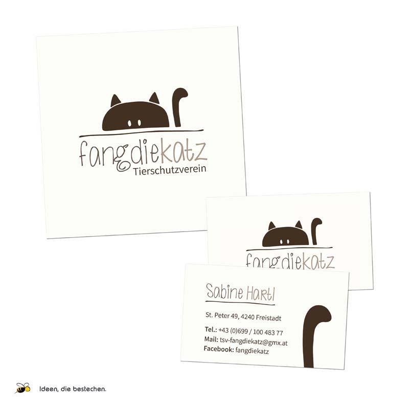 """Referenzen kreativbiene: Logo, Visitenkarten, Autobeklebung """"Tierschutzverein fangdiekatz"""""""