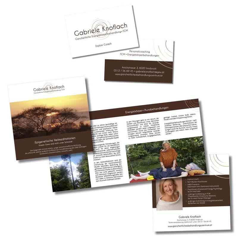 """Referenzen kreativbiene: Logo, Visitenkarten & Folder """"Gabriele Knoflach"""""""