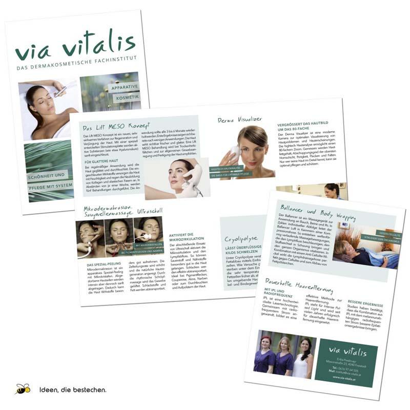 """Referenzen kreativbiene: Folder """"Apparative Kosmetik"""" für das """"Dermakosmetische Fachinstitut Via Vitalis"""""""