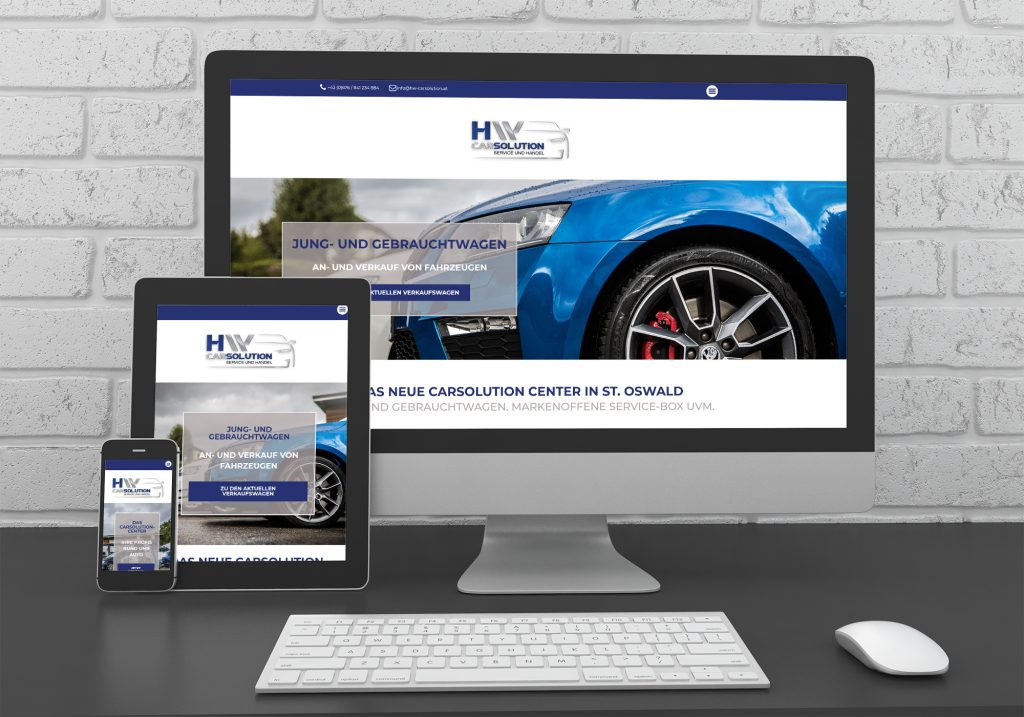 "Referenzen kreativbiene: Homepage ""HW CarSolution"""