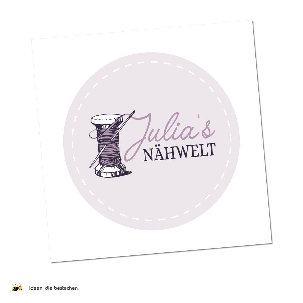"""Referenzen kreativbiene: Logo """"Julia's Nähwelt"""""""