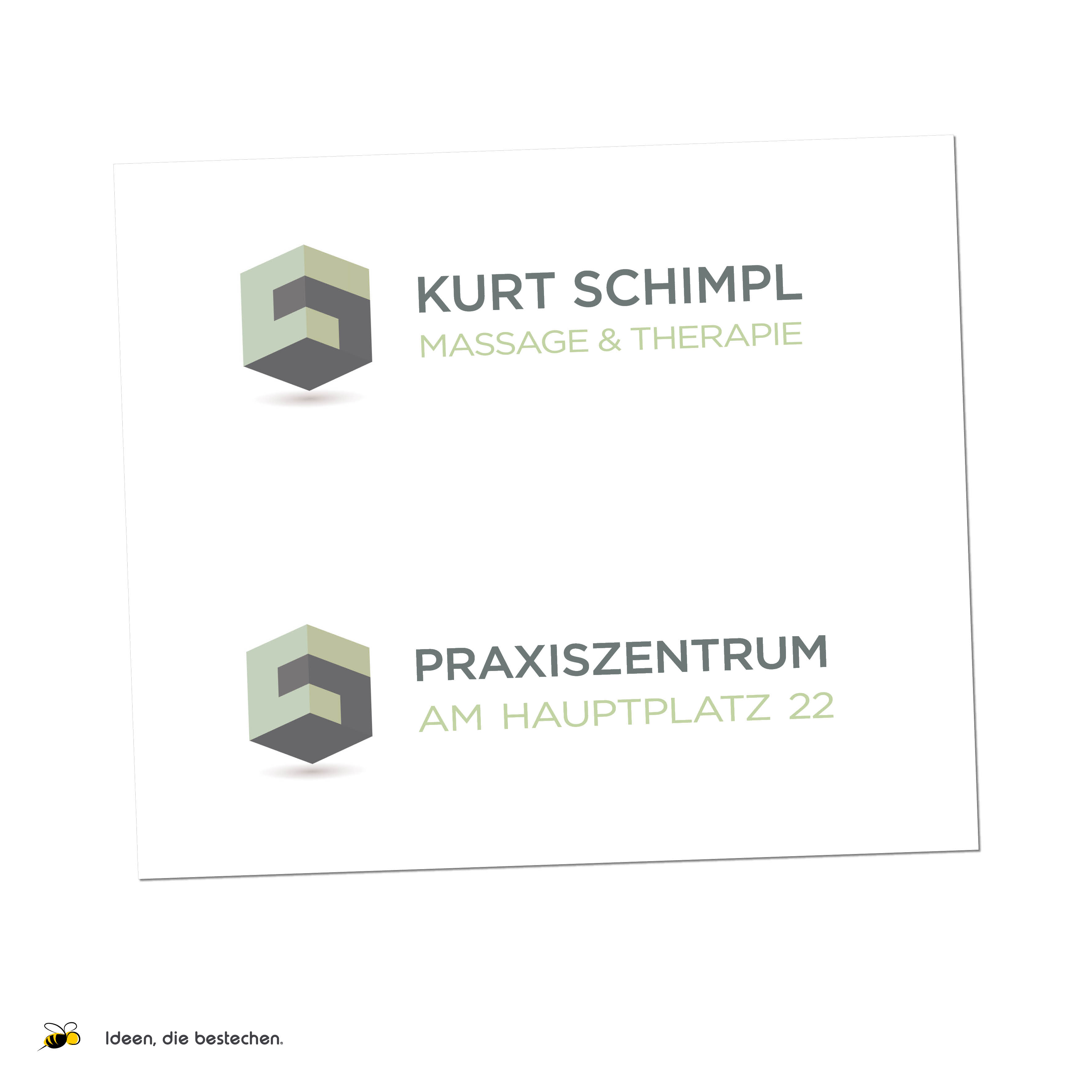 "Referenzen kreativbiene: Logo, Corporate Design & Drucksorten ""Praxiszentrum am Hauptplatz"" (Heilmasseur Kurt Schimpl)"