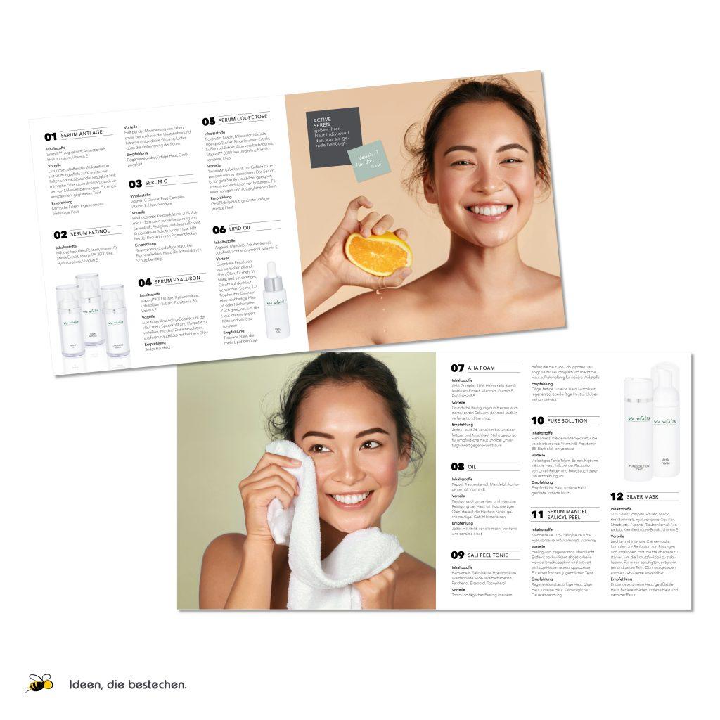 "Referenzen kreativbiene: Produktkatalog ""Via Vitalis Cosmetics"""