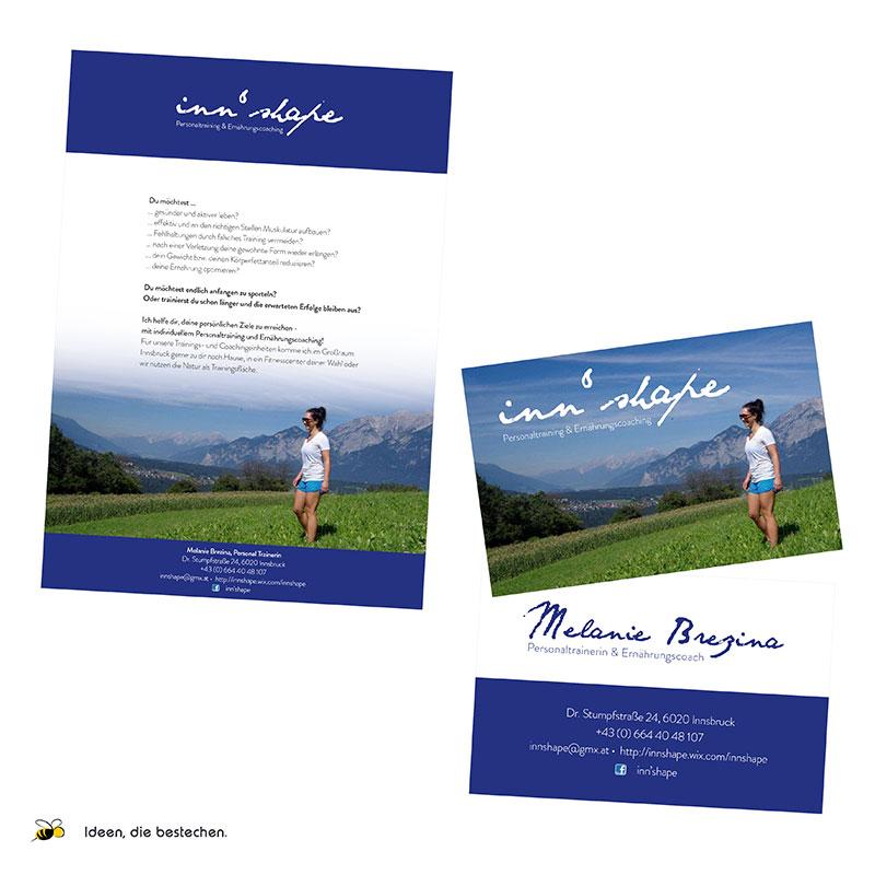"""Referenzen kreativbiene: Visitenkarten & Flyer """"inn'shape - Personaltraining und Ernährungscoaching"""""""