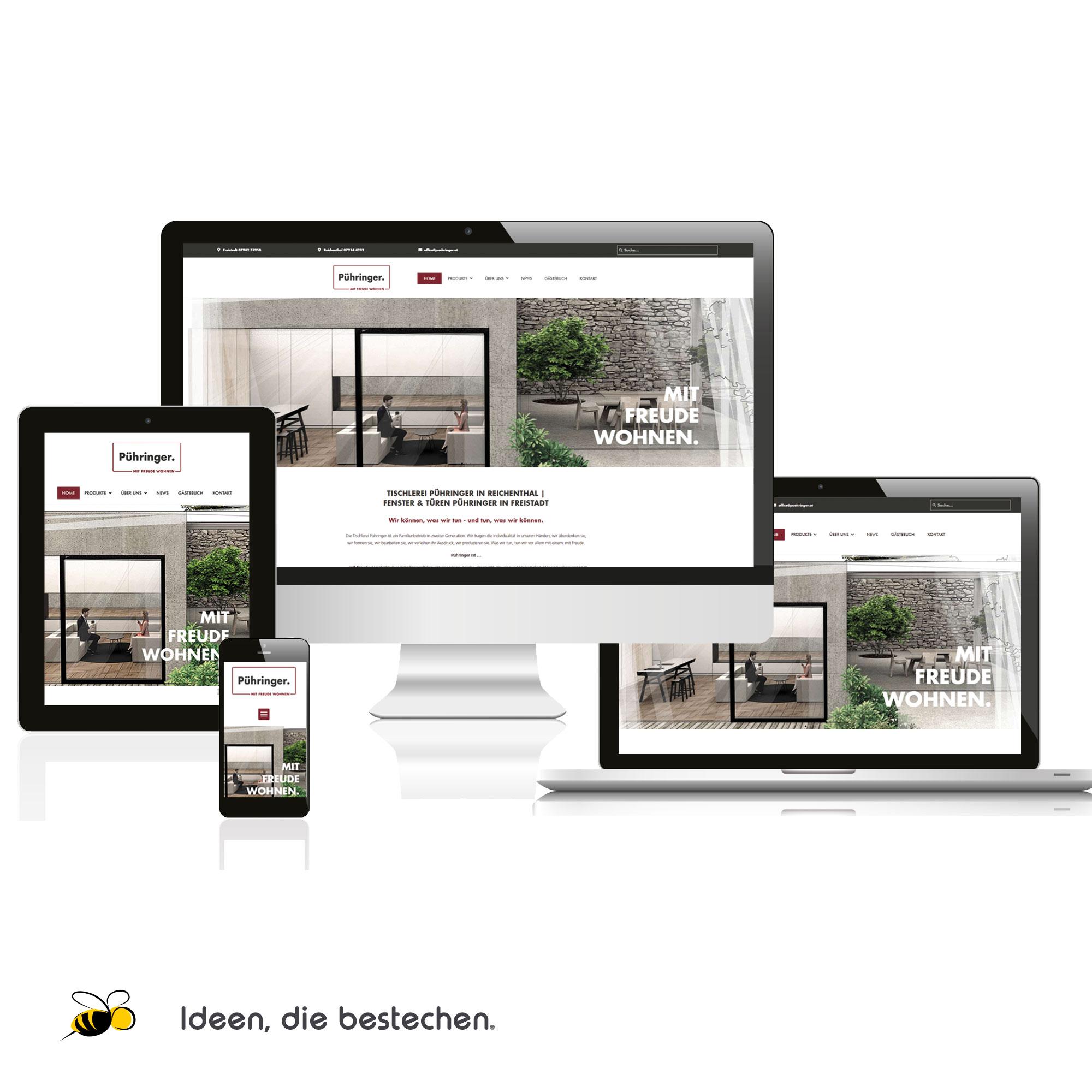 Referenzen kreativbiene: Homepage Tischlerei / Fenster&Türen Pühringer