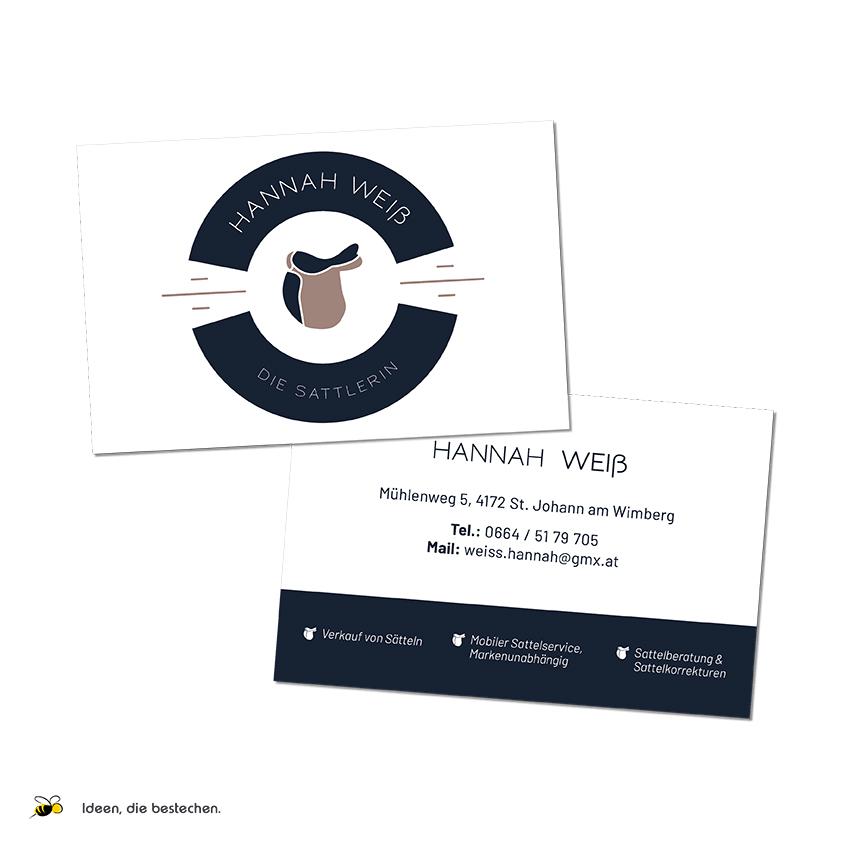 """Referenzen kreativbiene: Visitenkarten """"Hannah Weiß - die Sattlerin"""""""