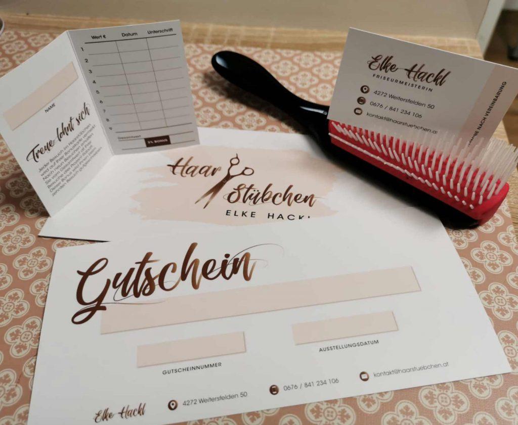 Referenzen kreativbiene: Haarstübchen Elke Hackl - Corporate Design & Drucksorten