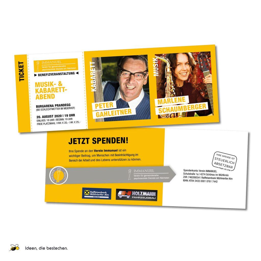 Referenzen kreativbiene - Tickets Benefizkabarett Verein Immanuel