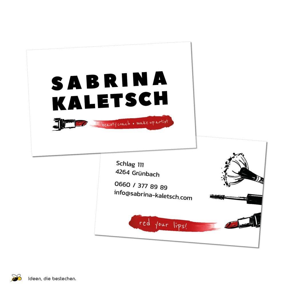 """Referenzen kreativbiene: Visitenkarten """"Sabrina Kaletsch"""""""