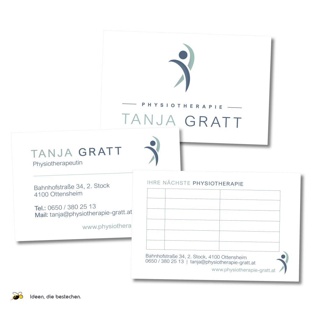 Referenzen kreativbiene: Corporate Design Physiotherapie Tanja Gratt