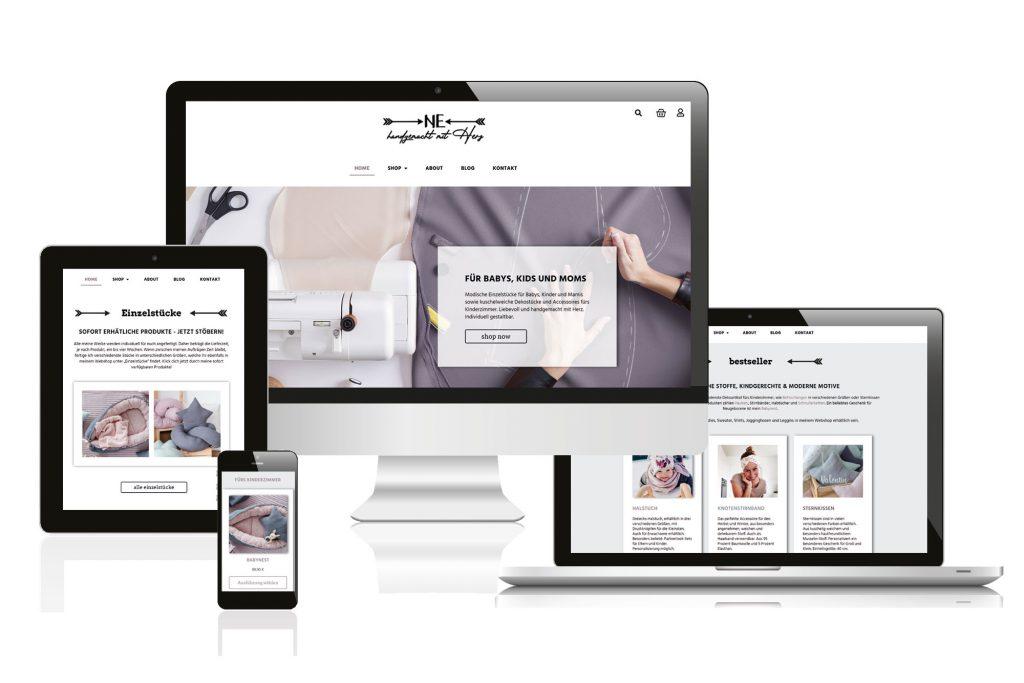 """Referenzen kreativbiene: Website und Webshop """"NE - handgemacht mit Herz"""""""